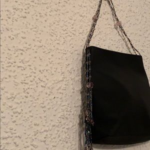 Evening wristlet black/purplish blue / navy beads